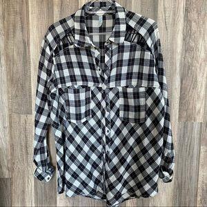 Free People Cutout Flannel Shirt XS
